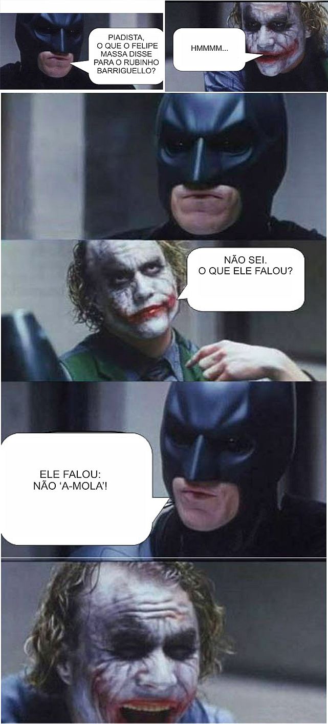 Charge do Batman, contando uma piada de Formula 1
